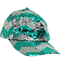 Aqua and Silver Chevron Sequined Cap #ZIQ899-AQUA