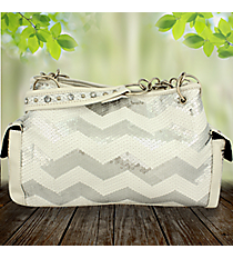 White Sequined Chevron Satchel #ZIQ977-WHITE
