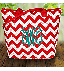 Red Chevron Quilted Shoulder Bag #ZIR1515-RED