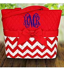Red Chevron Quilted Diaper Bag #ZIR2121-RED