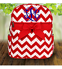 Red Chevron Quilted Large Backpack #ZIR2828-RED