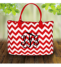 Red Chevron Quilted Large Shoulder Tote #ZIR3907-RED