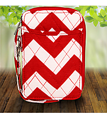 Red Chevron Quilted Wristlet #ZIR495-RED