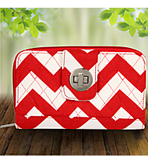 Red Chevron Quilted Organizer Clutch Wallet #ZIR517-RED