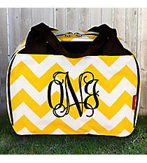 Yellow Chevron Insulated Bowler Style Lunch Bag with Brown Trim  #ZIU255-YELLOW