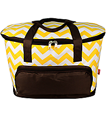 Yellow Chevron Cooler Tote with Lid #ZIU891-YELLOW