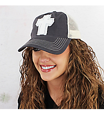 Distressed Cross Washed Trucker Cap #ZK641