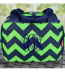 Navy and Lime Chevron Insulated Bowler Style Lunch Bag #ZLM255-NAVY/LM