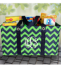 Navy and Lime Chevron Collapsible Haul-It-All Utility Basket #ZLM401-NAVY/LM