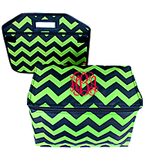 Navy and Lime Chevron Utility Storage Tote with Insulated Bag #ZLM516-NAVY/LM