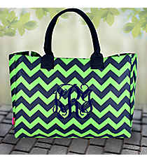 Navy and Lime Chevron Wide Tote Bag #ZLM581-NAVY/LM