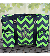 Navy and Lime Chevron Utility Tote #ZLM585-NAVY/LM