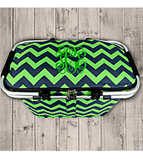 Navy and Lime Chevron Collapsible Insulated Market Basket with Lid #ZLM658-NAVY/LM